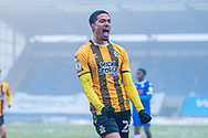 GOAL 0-1 Cambridge United Forward Harvey Knibbs (26) scores and celebrates during the EFL Sky Bet League 2 match between Colchester United and Cambridge United at the JobServe Community Stadium, Colchester, England on 16 January 2021.