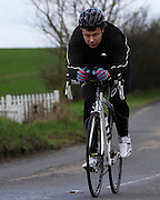 United Kingdom, Finchingfield, Mar 27, 2010: Gary Ward, Chelmer CC, approaches the 4 miles to go marker during the 2010 edition of the 'Jim Perrin' Memorial Hardriders 25.5 mile Sporting TT promoted by Chelmer Cycling Club. Copyright 2010 Peter Horrell.