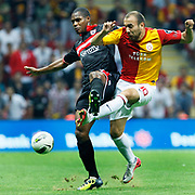 Galatasaray's Sercan YILDIRIM (R) during their Turkish Super League soccer match Galatasaray between Samsunspor at the Turk Telekom Arena at Seyrantepe in Istanbul Turkey on Sunday, 18 September 2011. Photo by TURKPIX