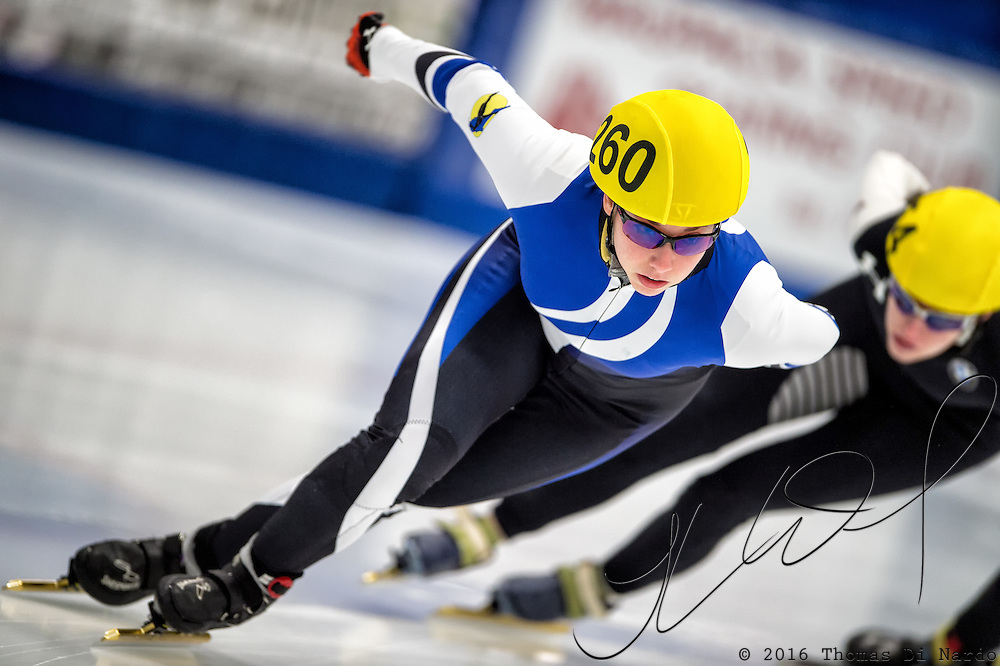 March 20, 2016 - Verona, WI - Christine Pyles, skater number 260 competes in US Speedskating Short Track Age Group Nationals and AmCup Final held at the Verona Ice Arena.