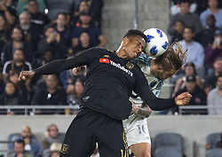 May 9, 2018 - Los Angeles, California, U.S - Mark-Anthony Kaye #14 of the LAFC battles for the ball with Harrison Heath #16 of the Minnesota United FC on Wednesday May 9, 2018, at the Banc of California Stadium in Los Angeles, California. LAFC defeats Minnesota United FC, 2-0. (Credit Image: © Prensa Internacional via ZUMA Wire)