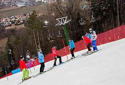 Atle Skardal during course inspection prior to the 1st Run of the 8th Ladies' Slalom at 52nd Golden Fox - Maribor of Audi FIS Ski World Cup 2015/16 before the race was cancelled due to soft snow and safety issues, on January 31, 2016 in Pohorje, Maribor, Slovenia. Photo by Vid Ponikvar / Sportida