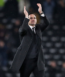 Derby County manager Frank Lampard celebrates victory during the Sky Bet Championship match at Pride Park, Derby.