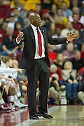 Feb 16, 2013; Fayetteville, AR, USA; Arkansas Razorbacks head coach Mike Anderson reacts to a play during a game against the Missouri Tigers at Bud Walton Arena. Arkansas defeated Missouri 73-71. Mandatory Credit: Beth Hall-USA TODAY Sports