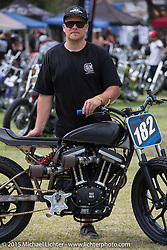 Hunter Klee's invited builder custom twin fuel-injected Buell XB-powered flat-track racebike at Born Free-7. Oak Canyon Ranch. Silverado, CA. USA. Sunday, June 28, 2015.  Photography ©2015 Michael Lichter.