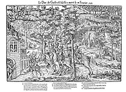 French Religious Wars 1562-1598. Francois de  Lorraine, 2nd duc de Guise (1519-1563) mortally wounded by Calvinist, Poltrot de Merey, 18 February 1563. Engraving by Jacques Tortorel (fl1568-1590) and Jean-Jacques Perrissin (c1536-1617) from their series on the Huguenot Wars, c1570.