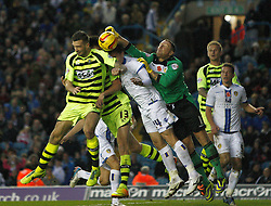 Yeovil Town's Shane Duffy and Yeovil Town's Kieffer Moore put Leeds United's Paddy Kenny under pressure-Photo mandatory by-line: Matt Bunn/JMP - Tel: Mobile: 07966 386802 02/11/2013 - SPORT - FOOTBALL - Elland Road - Leeds - Leeds United v Yeovil Town - Sky Bet Championship
