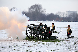 © Licensed to London News Pictures. 06/02/2012. LONDON, UK. A gun of the Kings Troop Royal Horse Artillery fires part of a 41 gun salute in Hyde Park. Gunners of the Kings Troop, based at St John's Wood since 1947, today (06/02/12) left their barracks for the last time to fire their guns in Hyde Park, the soldiers will move tomorrow to their new home in Woolwich. Photo credit: Matt Cetti-Roberts/LNP