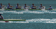 Aiguebelette, FRANCE.  GBR M8+ and FRAN M8+ approaching the the finishing line, repechage, approaching the line. 10:00:21  Saturday  21/06/2014. [Mandatory Credit; Peter Spurrier/Intersport-images]
