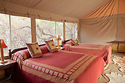 Tented accomodation at a luxury camp in the Selenkay Reserve near Amboseli National Park, Kenya
