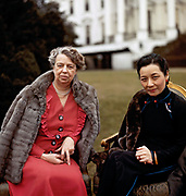 Eleanor Roosevelt in front of the White House with Soong Mei-ling (Madame Chiang Kai-shek), first lady of the Republic of China. February 1943