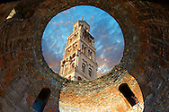 Bell tower  of the Cathedral of St Doimus dedicated to the Virgin mary from inside a round Roman gate building. Diocletian's, palace, Split, Croatia. A UNESCO World Heritage Site