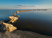 Limited Edition of 17<br /> Bombay Beach Salton Sea  California. <br /> Remnants of an old dock stubbornly remain in the saline waters of the Salton Sea at 226 ft (69 m) below sea level in California's