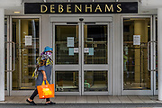 The Debenhams store in Clapham Junction is closed during the lockdown and is not one of the ones just announced for closure after the lock down eases. The 'lockdown' continues for the Coronavirus (Covid 19) outbreak in London.