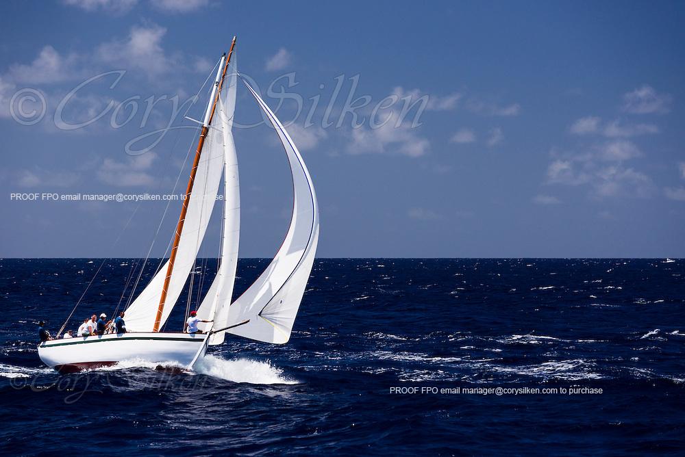 Genesis sailing in the Antigua Classic Yacht Regatta, Windward Race.