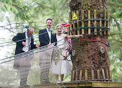 Martin Milner and Colette Gregory after tying the knot in the trees at Go Ape Aberfoyle.
