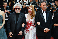 Pedro Almodovar, Jessica Chastain, Paolo Sorrentino arriving for the 70th Cannes Film Festival closing ceremony on May 28, 2017 in Cannes, France. Photo by Julien Zannoni/APS-Medias/ABACAPRESS.COM