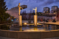 """This is an image of the """"Father & Son"""" fountain during an atypical occasion when the the fountains are not running. Typically, one statue (either the father or the son) is completely hidden within showers of water so the other statue — and pedestrians — cannot see the other. It's rare that both statues are visible simultaneously. (March 22, 2020)"""