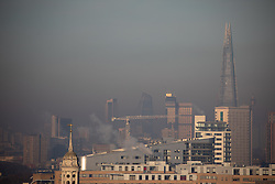 © Licensed to London News Pictures. 31/01/2019. London, UK. A general view of the skyline of London with fog on the horizon on a frosty, clear morning. Temperatures in London reach minus three degrees Celsius last night. Photo credit : Tom Nicholson/LNP