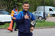 AFC Wimbledon striker Kweshi Appiah (9) arriving for the game during the EFL Sky Bet League 1 match between AFC Wimbledon and Blackpool at the Cherry Red Records Stadium, Kingston, England on 22 February 2020.