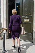 As Secretary of State for Business, Energy and Industrial Strategy, Andrea Leadsome MP arrives at the Cabinet Office on Whitehall, the location of daily Brexit contingency planning meetings codenamed Yellowhammer, in government departments, on 19th August 2019, in London, England.