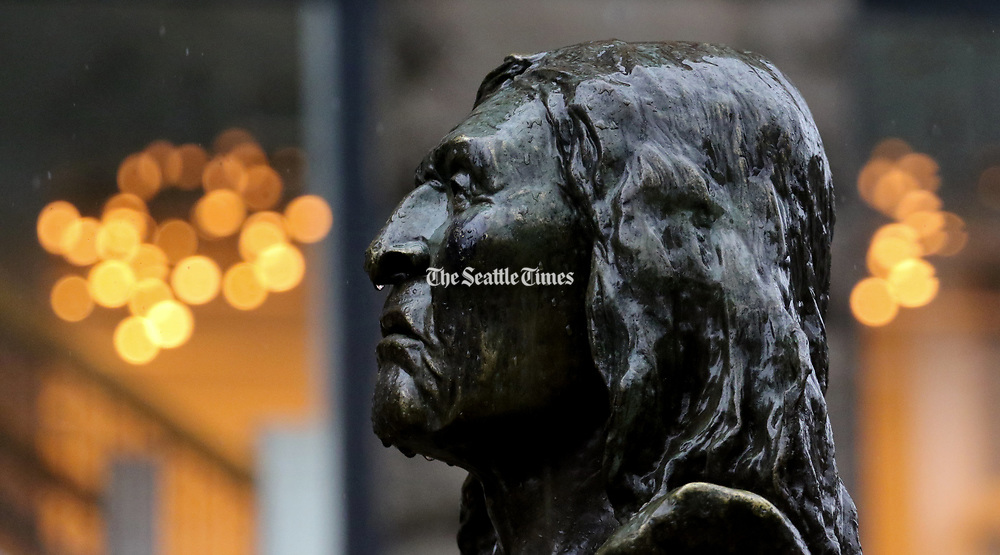 Chief Seattle should be accustomed to the rain in his namesake city, which has an average of about 155 days a year with measurable precipitation. Rain has always been part of the Northwest identity. (Alan Berner/The Seattle Times)
