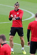 Gareth Bale of Wales enjoying the Wales football team training at the Vale Resort in Hensol, near Cardiff , South Wales on Tuesday 29th August 2017.  the team are preparing for their FIFA World Cup qualifier home to Austria this weekend.  pic by Andrew Orchard, Andrew Orchard sports photography