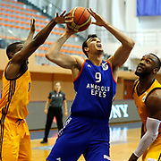 Anadolu Efes's Dario Saric (C) during their Turkish Basketball Super League match Istanbul BBSK between Anadolu Efes at Cebeci Arena in Istanbul Turkey on Sunday 29 November 2015. Photo by Aykut AKICI/TURKPIX
