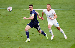 Scotland's Andrew Robertson (left) and Czech Republic's Vladimir Coufal (right) during the UEFA Euro 2020 Group D match at Hampden Park, Glasgow. Picture date: Monday June 14, 2021.