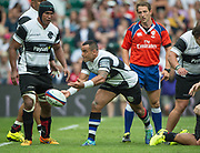 Twickenham, Surrey, United Kingdom. Kahn FOTUALI'I, psses the ball, during the, Old Mutual Wealth Cup, England vs Barbarian's match, played at the  RFU. Twickenham Stadium, on Sunday   28/05/2017England    <br /> <br /> [Mandatory Credit Peter SPURRIER/Intersport Images]