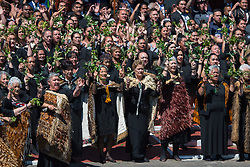 Maori people perform a traditional welcome during the visit of the Duke and Duchess of Sussex to Te Papaiouru, Ohinemutu, in Rotorua, before a lunch in honour of Harry and Meghan, on day four of the royal couple's tour of New Zealand.