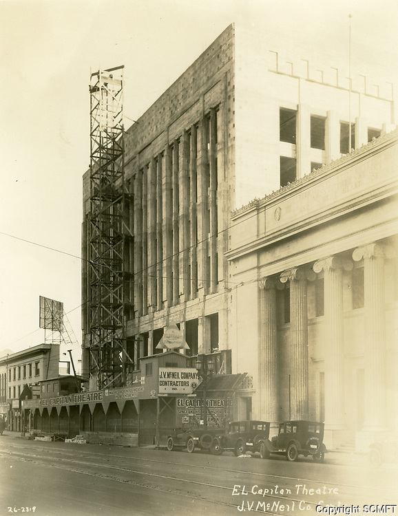1926 Construction of the El Capitan Theater on Hollywood Blvd.