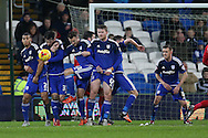 Cardiff city players in their defensive wall block a free kick taken by Jordan Rhodes of Blackburn Rovers (not pictured). Skybet football league championship match, Cardiff city v Blackburn Rovers at the Cardiff city stadium in Cardiff, South Wales on Saturday 2nd Jan 2016.<br /> pic by Andrew Orchard, Andrew Orchard sports photography.