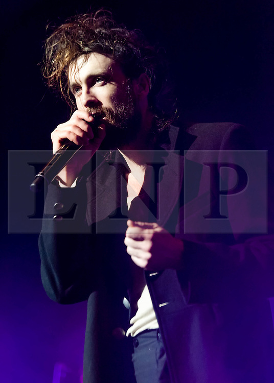 """© Licensed to London News Pictures. 11/02/2014. London, UK.   Edward Sharpe and the Magnetic Zeroes performing live at Brixton Academy for their biggest UK concert to date.  Singer/frontman Alex Ebert Ebert in January 2014 won a Golden Globe Award for Best Original Score for his work on J.C. Chandor's """"All is Lost"""".  Edward Sharpe and the Magnetic Zeros is an American indie folk band formed in Los Angeles, California in 2007. Led by lead vocalist Alex Ebert the group features a revolving lineup of up to 12 people.      Photo credit : Richard Isaac/LNP"""