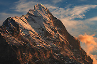 Eiger is one of the most recognized peaks in Switzerland. The 1,800 meter north face, called Eigerwand, is the biggest north face in the Alps and one of the most challenging climbs.