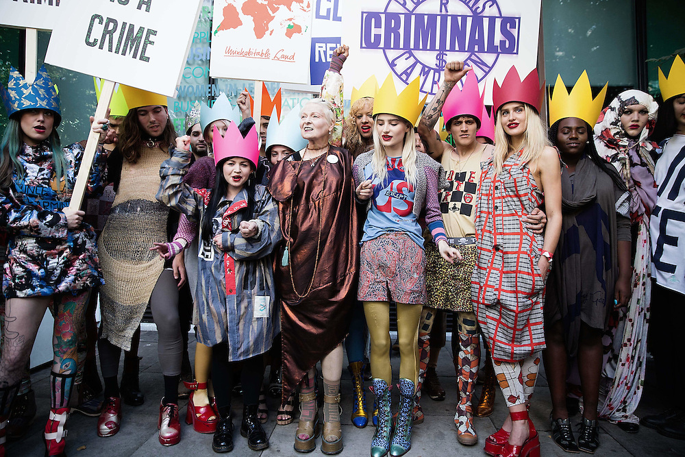 Vivienne Westwood protest before her catwalk in London Fashion Week on 20 September 2015.<br /> Photos Ki Price