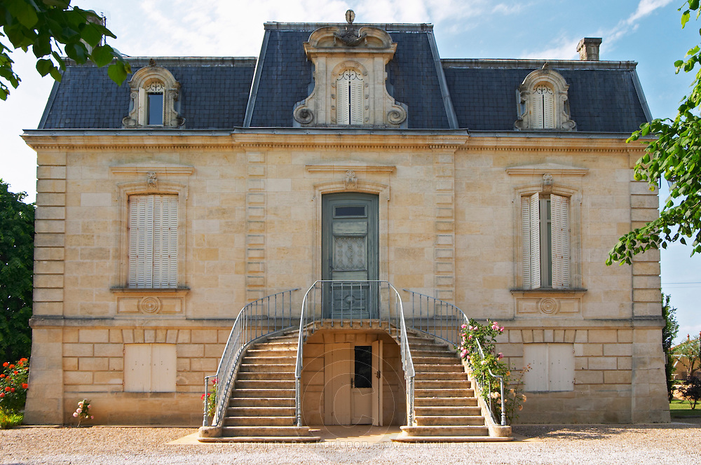 The small but very well proportioned main chateau building with curving staircase stairs Chateau Thieuley La Sauve Majeure Entre-deux-Mers Bordeaux Gironde Aquitaine France