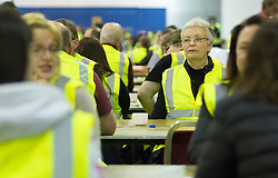 Scottish Parliament Election 2016 Royal Highland Centre Ingliston Edinburgh 05 May 2016; the counters wait on the boxes to be opened during the Scottish Parliament Election 2016, Royal Highland Centre, Ingliston Edinburgh.<br /> <br /> (c) Chris McCluskie | Edinburgh Elite media