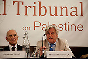 """London session of the Russel Tribunal on Palestine. """" Corporate Complicity in Israel's violations in international human rights law and international humanitarian law"""". Stephane Hessel and Michael Mansfield QC."""