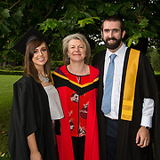 """25.08.2016          <br />  Faculty of Business, Kemmy Business School graduations at the University of Limerick today. <br /> <br /> Attending the conferring wer Graduate Certificate in Posture, Seating and Wheelchair Mobility across the Life Course   graduates, Anne Lynam, Kilcock Co. Kildare, and John Lynch, Walkinstown County Dublin with Dr. Rosie Gowran, Dept. Clinical Therapies. Picture: Alan Place.<br /> <br /> <br /> As the University of Limerick commences four days of conferring ceremonies which will see 2568 students graduate, including 50 PhD graduates, UL President, Professor Don Barry highlighted the continued demand for UL graduates by employers; """"Traditionally UL's Graduate Employment figures trend well above the national average. Despite the challenging environment, UL's graduate employment rate for 2015 primary degree-holders is now 14% higher than the HEA's most recently-available national average figure which is 58% for 2014"""". The survey of UL's 2015 graduates showed that 92% are either employed or pursuing further study."""" Picture: Alan Place"""