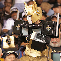 2008 October, 06: A New Orleans Saints fan dressed as a robot dances in the stands during a week five regular season game between the Minnesota Vikings and the New Orleans Saints for Monday Night Football at the Louisiana Superdome in New Orleans, LA.