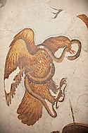 6th century Byzantine Roman mosaics of an Eagle catching a snake from the peristyle of the Great Palace from the reign of Emperor Justinian I. Istanbul, Turkey. .<br /> <br /> If you prefer to buy from our ALAMY PHOTO LIBRARY  Collection visit : https://www.alamy.com/portfolio/paul-williams-funkystock/great-palace-mosaic-istanbul.html<br /> <br /> Visit our ROMAN MOSAIC PHOTO COLLECTIONS for more photos to download  as wall art prints https://funkystock.photoshelter.com/gallery-collection/Roman-Mosaics-Art-Pictures-Images/C0000LcfNel7FpLI