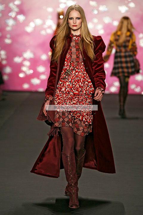 Katrin Thormann walks the runway wearing Anna Sui Fall 2009 collection