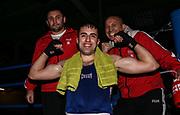 Boxen: Elite, Deutsche Meisterschaften, Halbfinale, Lübeck, 08.12.2017<br /> Weltergewicht, 69 Kg: Berat Tolga Aciksari (Hamburg) - Magar Warschamjan (Niedersachsen)<br /> © Torsten Helmke