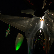 A Royal Netherlands Air Force F-16 Fighting Falcon receives fuel from a U.S. Air Force KC-135 Stratotanker assigned to the 340th Expeditionary Air Refueling Squadron,Mar 10, 2015, over Iraq. The F-16 will strike Da'esh targets in support Operation Inherent Resolve.(U.S. Air Force Photo by Staff Sgt. Perry Aston/RELEASED)