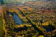 """Nederland, Noordoostpolder, Markenesse, 04-11-2018; Waterloopbos, voormalig Waterloopkundig Laboratorium """"De Voorst"""" (WLV). De Deltagoot, nu kunstwerk Deltawerk // (kunstenaars Ronald Rietveld, Erick de Ly)<br /> Waterloopbos (watercourse wood), former hydrological laboratory.<br /> <br /> luchtfoto (toeslag op standaard tarieven);<br /> aerial photo (additional fee required);<br /> copyright © foto/photo Siebe Swart"""