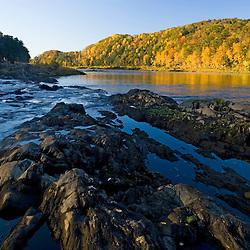 The Connecticut River at Sumner Falls (Hartland Rapids) in Hartland, Vermont.