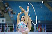 Halkina Katsiaryna during final at hoop in Pesaro World Cup 28 April 2013. Katsiaryna is a Belarusian rhythmic gymnastics athlete born February 25, 1997 in Minks, Belarus.