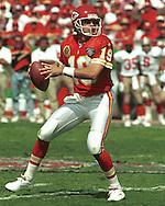 Kansas City quarterback Joe Montana during game action against the San Francisco 49er's at Arrowhead Stadium in Kansas City, Missouri in 1994.