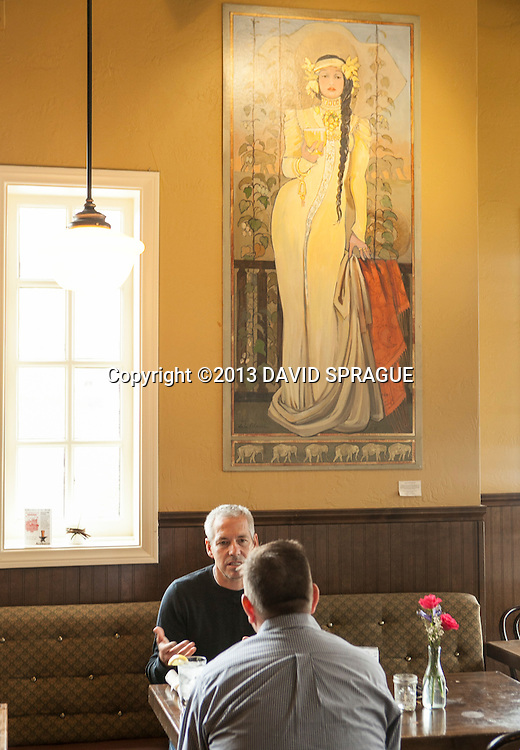 Patrons at lunch at LadyFace Ale Companie in Agoura Hills, CA. Shot Feb. 5th,  2013 Photo by David Sprague ©2013